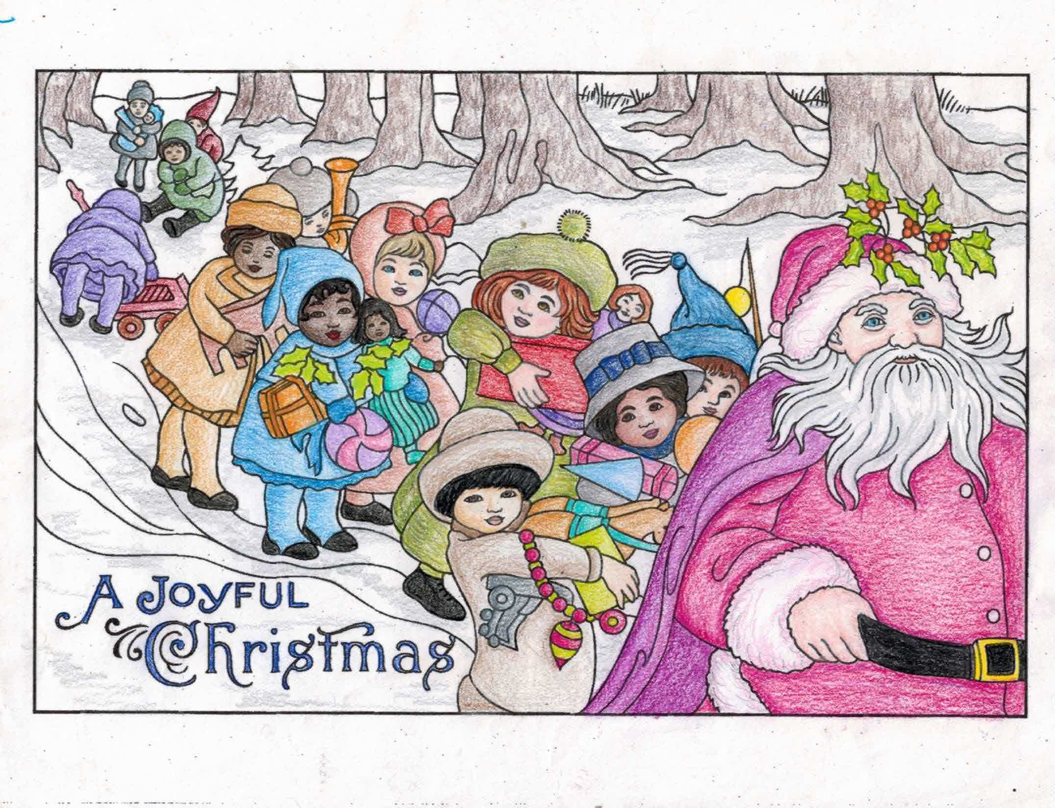 from Vintage Christmas Greetings Dover Coloring Book; Barb Jones (18 ...
