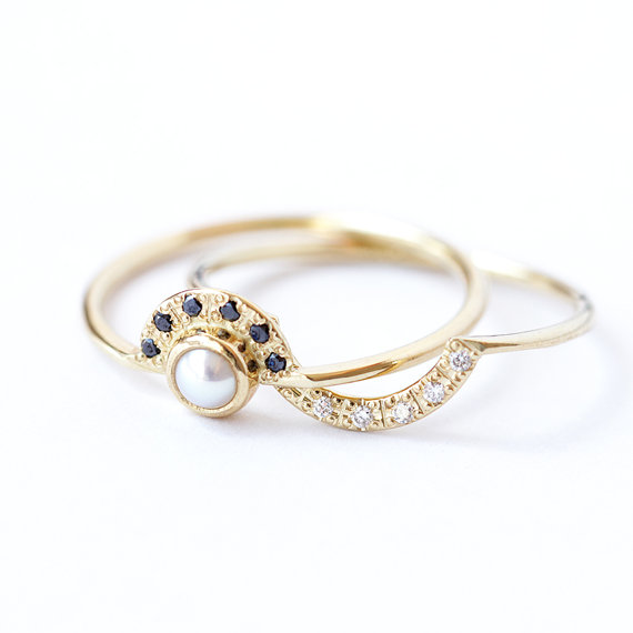 Double Crown Wedding Set With Pearl Engagement Ring And By Artemer