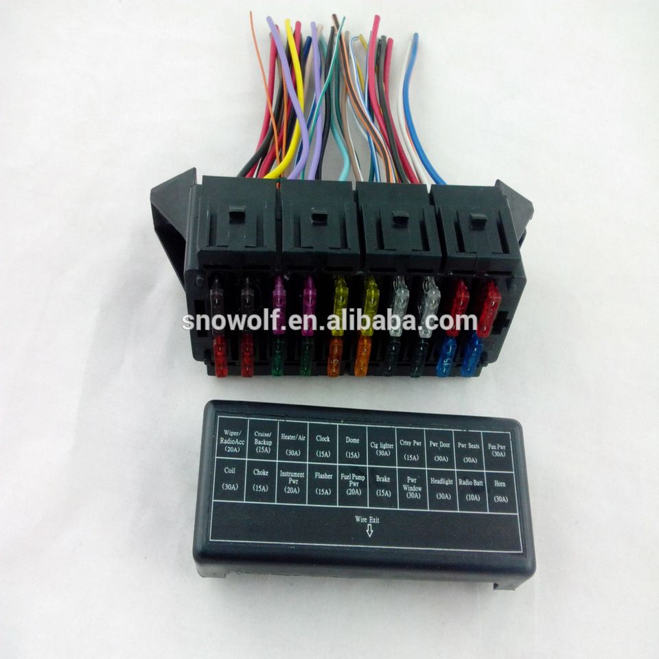 automobile 20way 12 circuit way wire harness fuse box fuse holder with fuse  clip