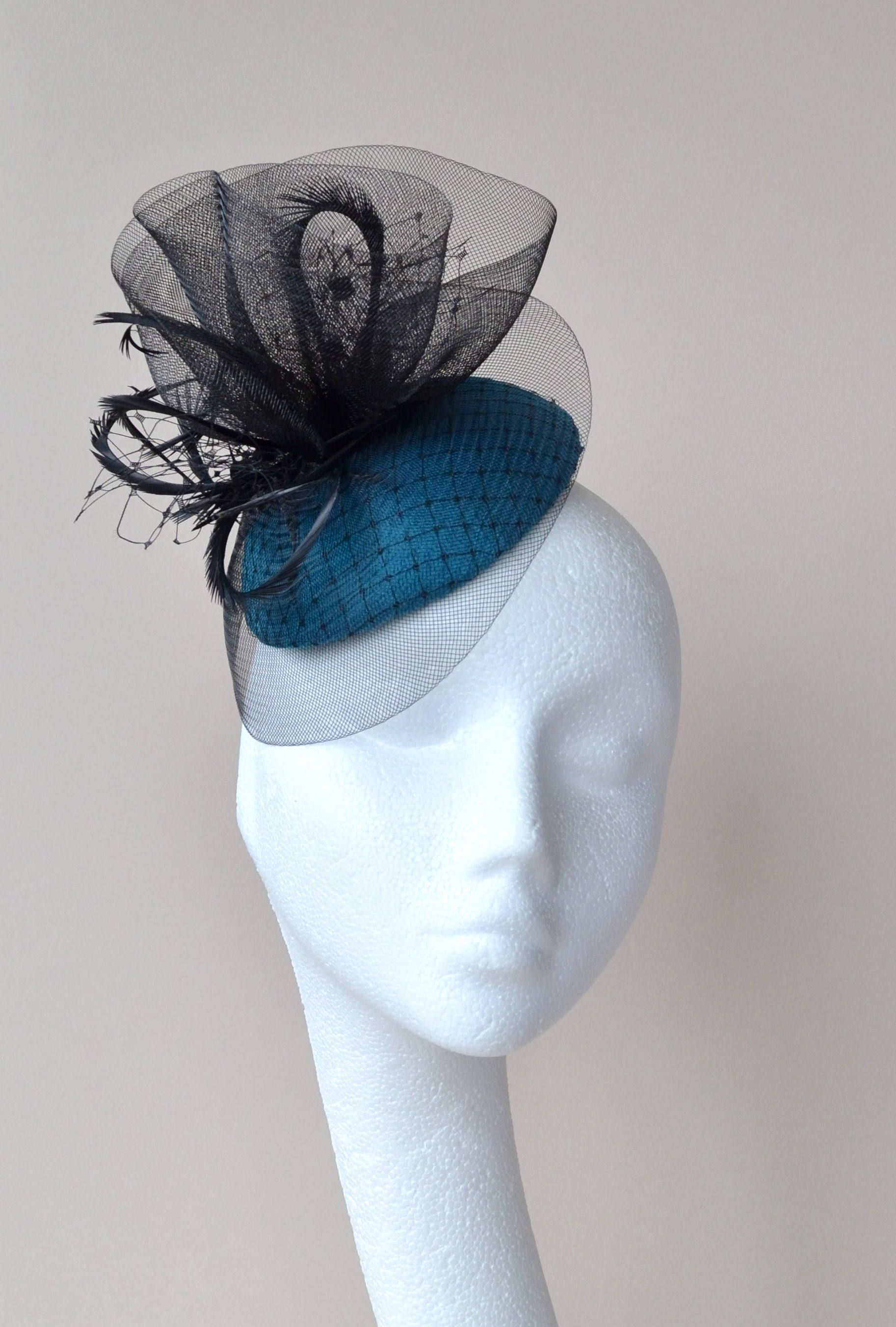 793d91a1b6f4a Teal and black wedding hat. Ascot hat. Derby hat. Cocktail hat. Percher hat.  Small blue hat. Occasion hat. by jaracedesigns on Etsy
