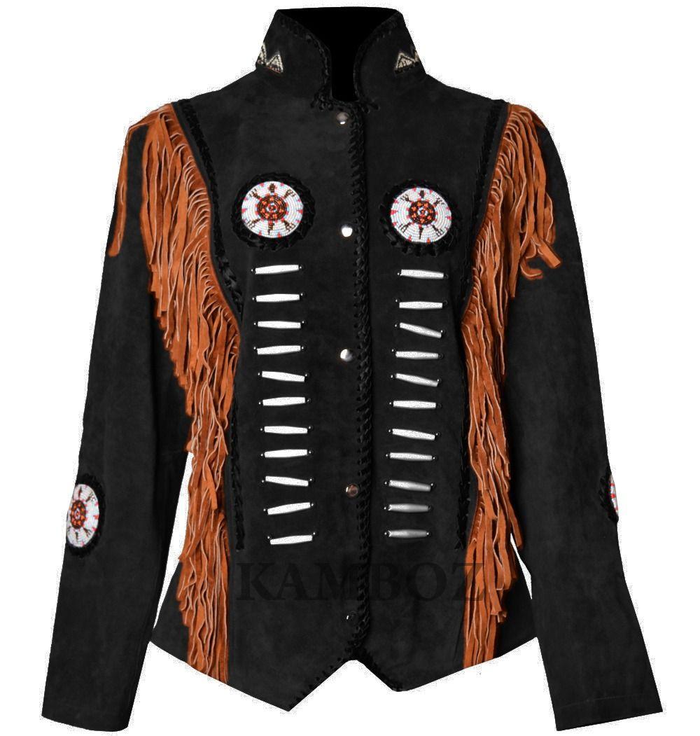 SleekHides Womens Western Suede Leather Fringed Vest