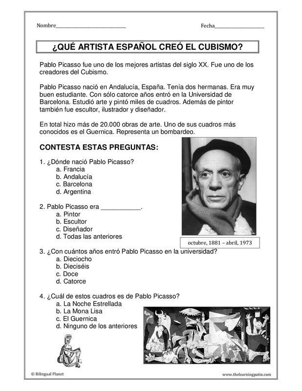 Picasso With Images Spanish Lessons Ap Spanish Language