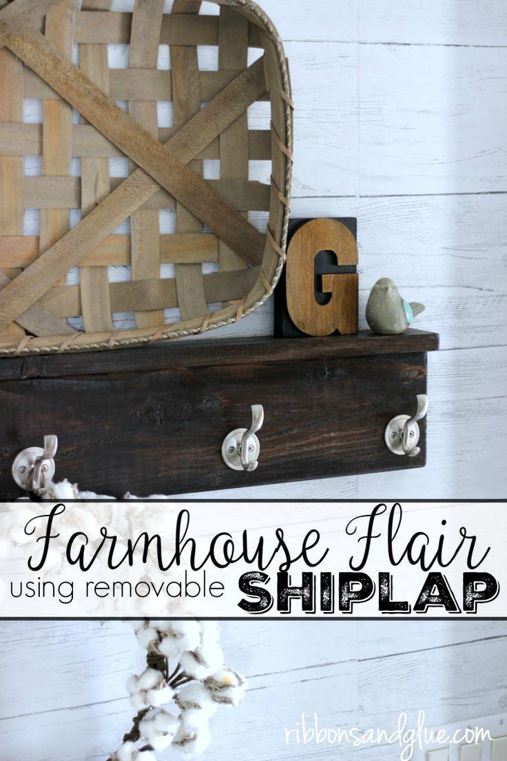 Farmhouse Flair using Removable Shiplap Wallpaper