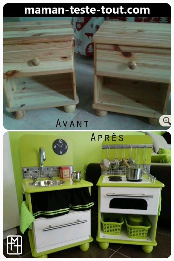 Diy fabriquer une cuisine pour enfant avec deux tables de chevet je l 39 - Fabriquer table chevet ...