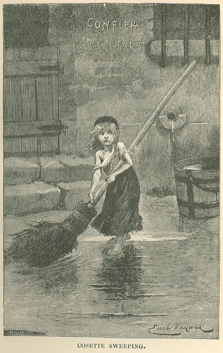 Les Miserables image: Cosette sweeping
