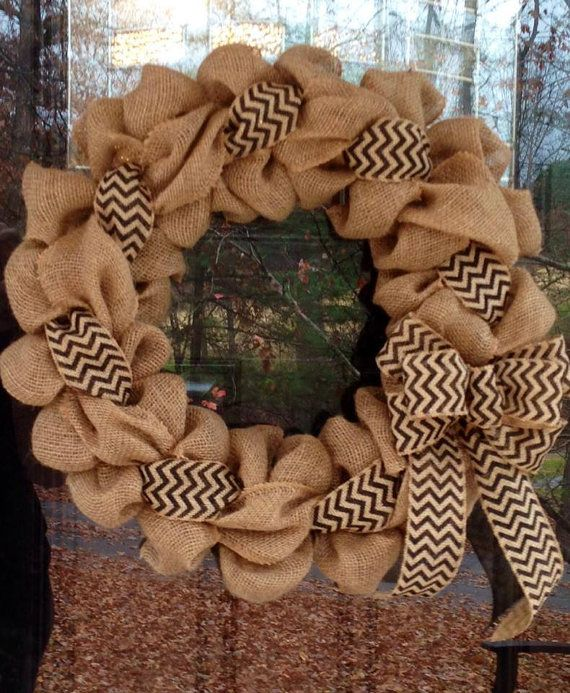 Photo of Black and Natural Chevron Burlap Wreath 22 inch for front door or accent – outdoor or indoor