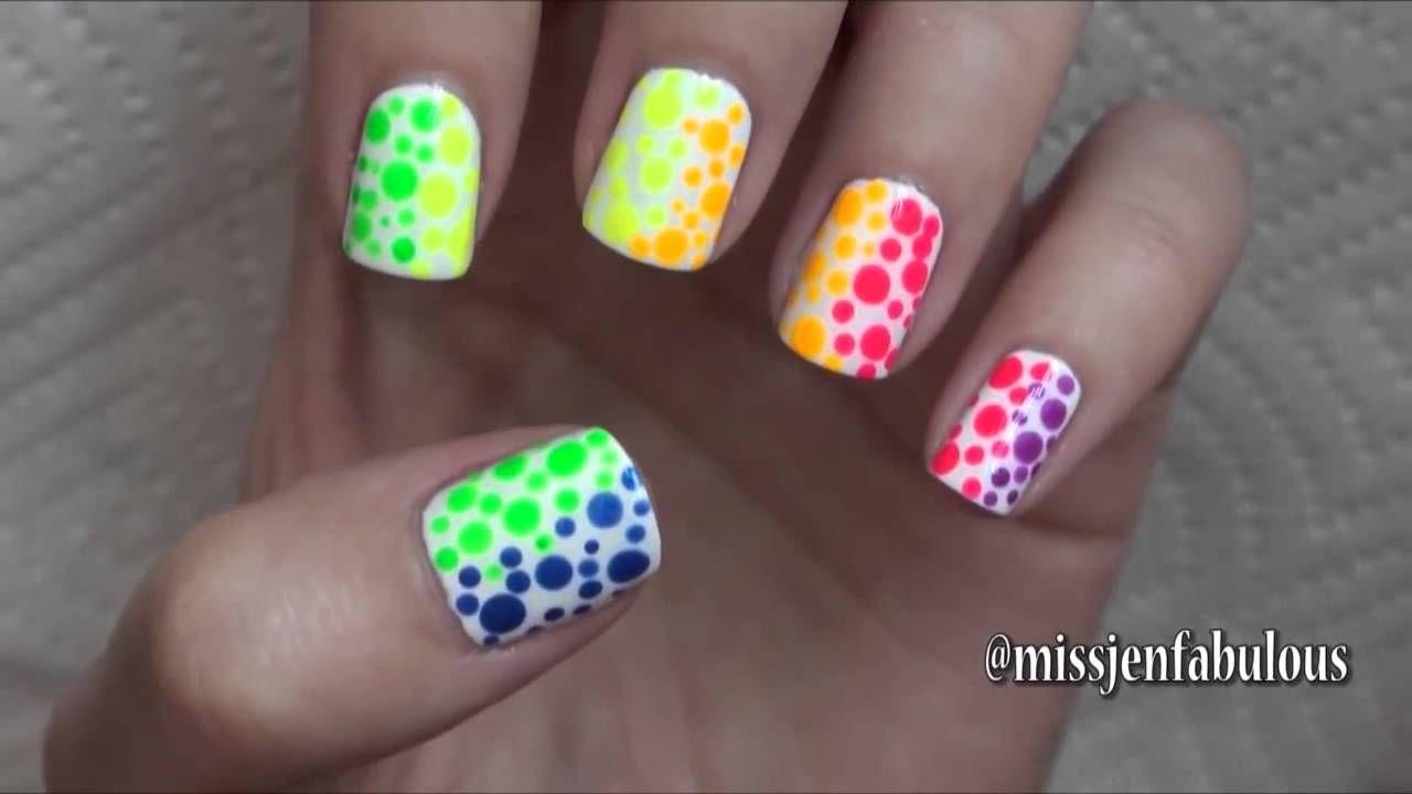 Summer Nail Art Three Easy Designs Youtube Girls Nail Designs Little Girl Nails Nails For Kids