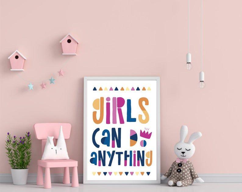 Girls Can Do Anything Print Colorful Printable Nursery Wall Art Kids Playroom Bedroom Decor Inspirational Kids Wall Art Girl Power Art Wall Kids Nursery Wall Art Printable Kids Playroom Decor