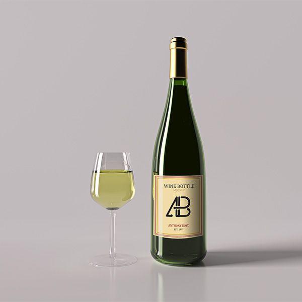 PSD исходник - Винная бутылка (Mock Up) Фотошоп материалы для - abel templates psd