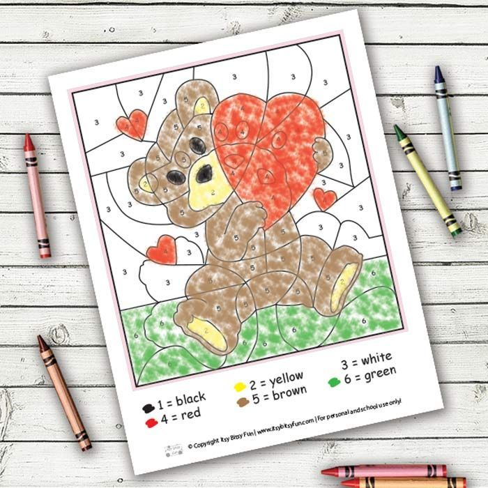 Valentines Day Color By Numbers Worksheets | Number worksheets and ...