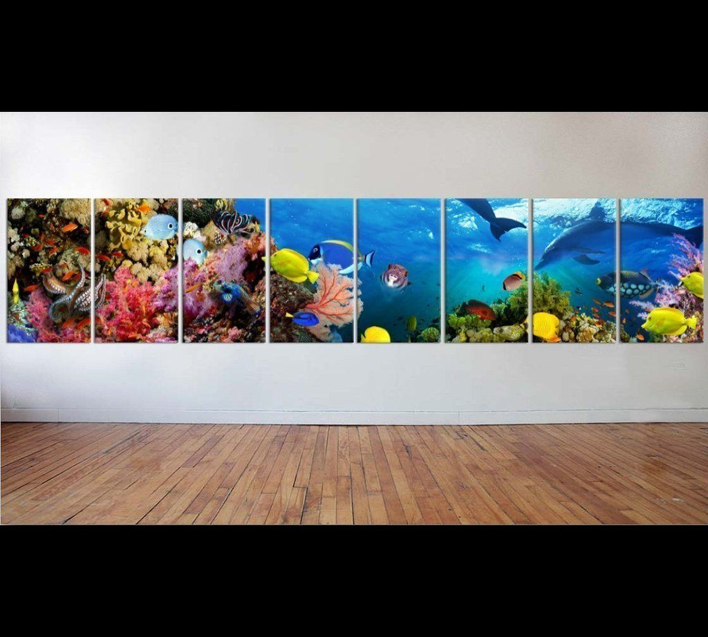 Large panorama of marine species ready to hang canvas print