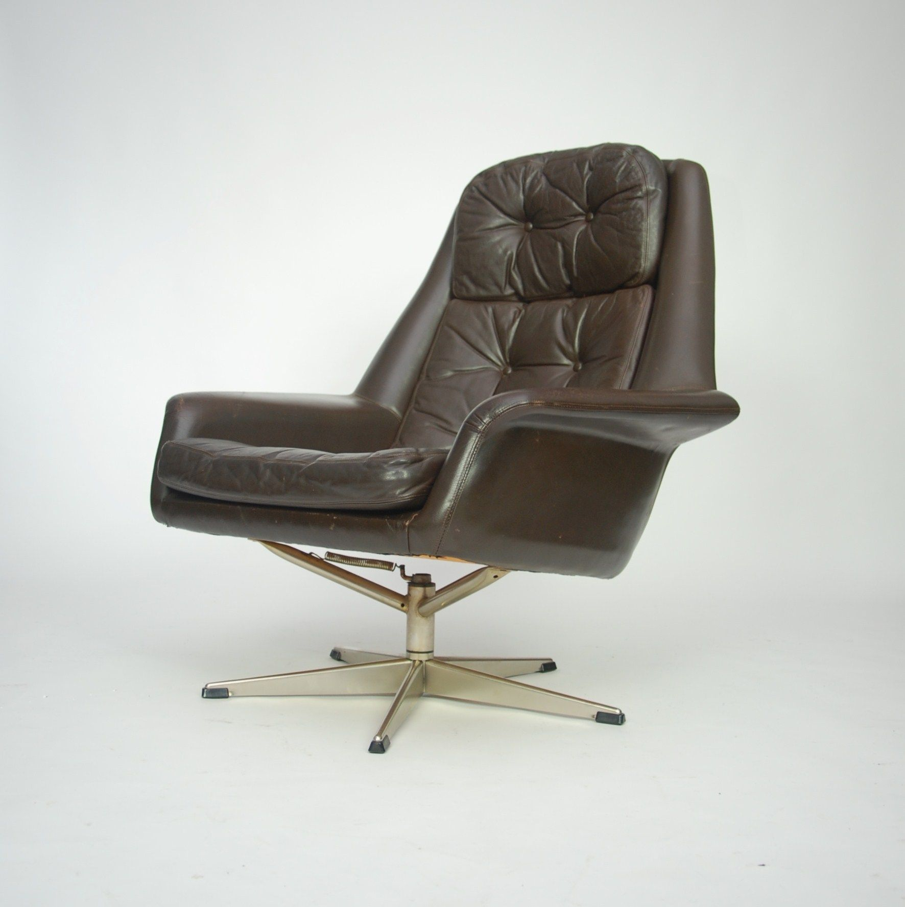 H W Klein Steel And Leather Swivel Lounge Chair For Bramin S