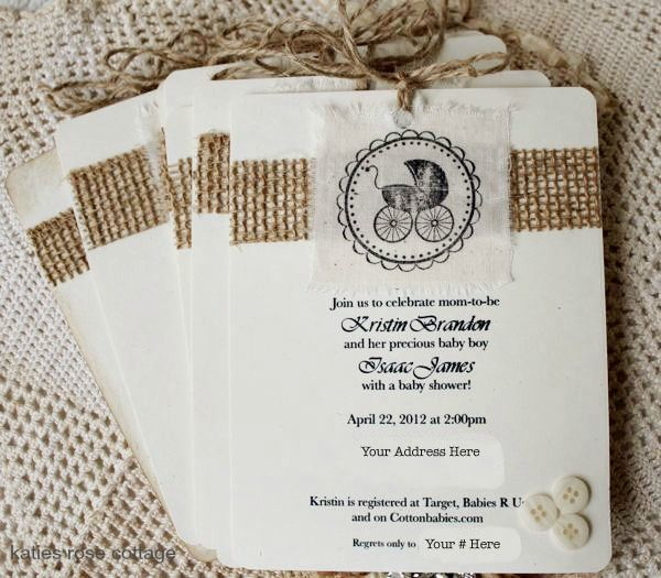 Burlap baby carriage invitation kit baby shower party ideas burlap baby carriage invitation kit baby shower filmwisefo Gallery