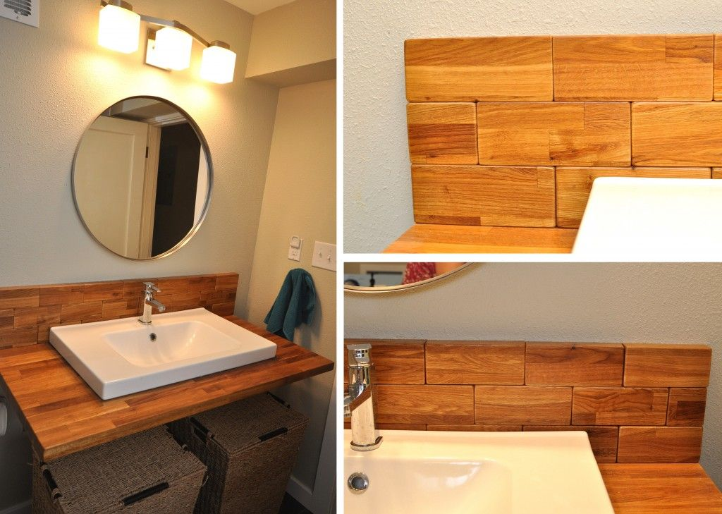 Want to replace cheap laminate on vanity with wood top for Diy wood vanity