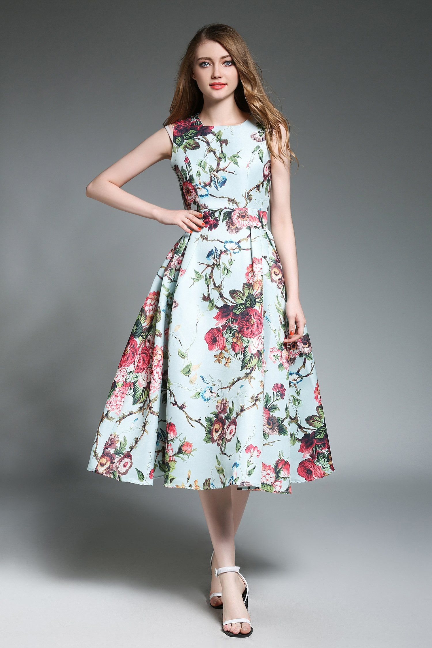 A-Line Crewneck Sleeveless Floral Printed Midi Dress  Frock for