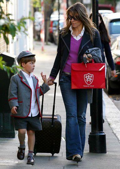 Happy Model Mothers Elizabeth Hurley Liz Hurley Son Hurley