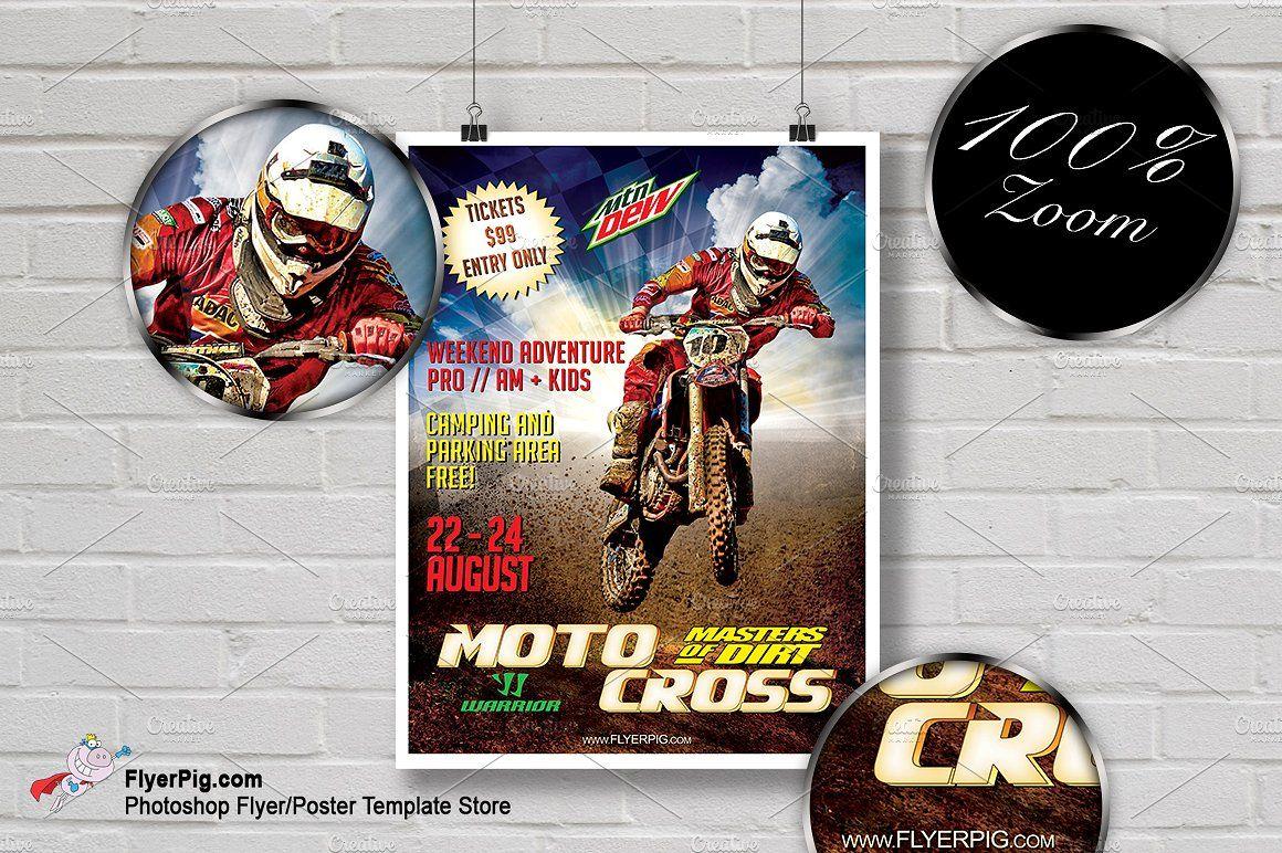 Motocross Flyer Flyer Poster Template Creative Flyers