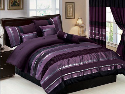 Amazon Com 7 Pc Modern Purple Black Silver Chenille Comforter Set Bed In A Bag King Size Bedding Purple Bedrooms Purple Bedding Silver Bedroom