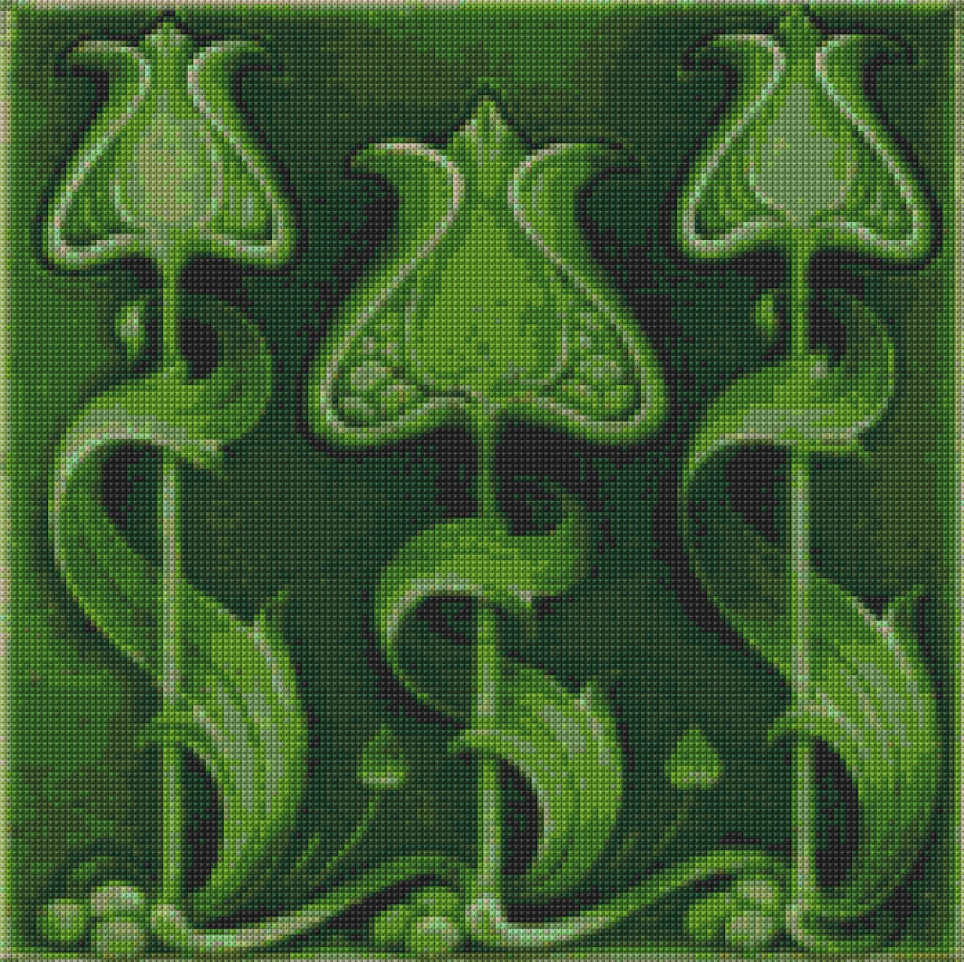 Art Nouveau Green Tile Cross Stitch pattern PDF- EASY chart with one ...