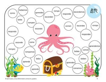 Spanish Present Tense AR, ER, IR verb REVIEW GAME! Octopus on ...