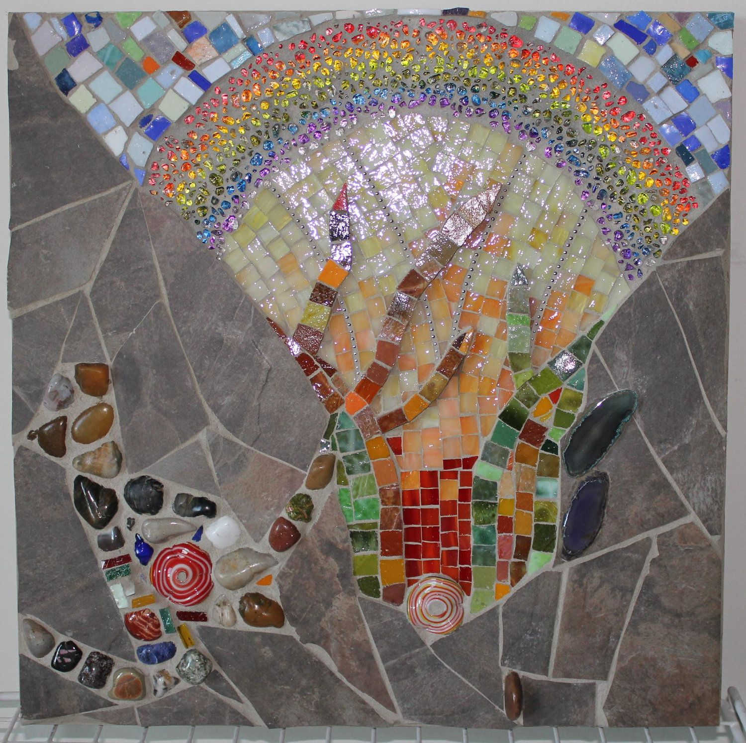 Mosaic, Mixed Media, Glass, Rainbow. $250.00, via Etsy.