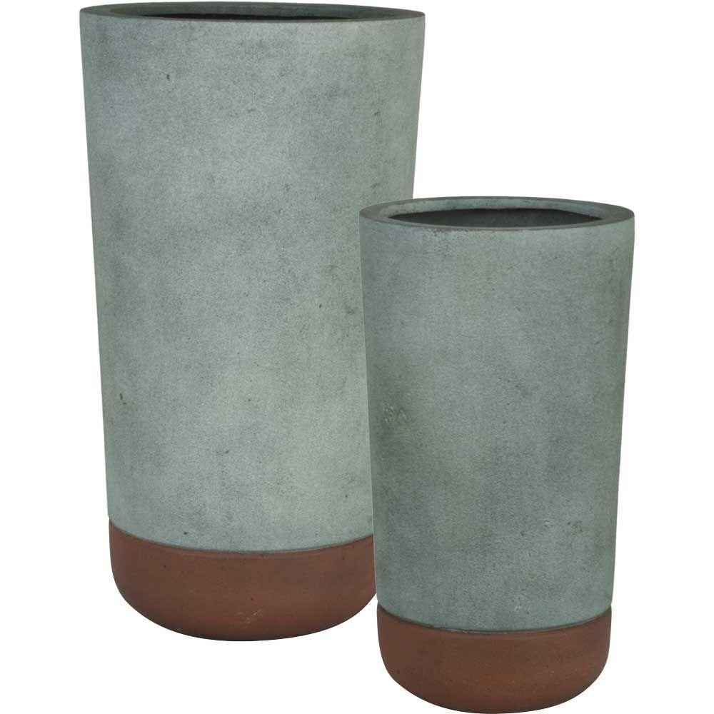 Pride Garden Products Esteras Collection Vasos Round Concrete Rust  Fiberglass Planters (Set Of 2) 84075   The Home Depot