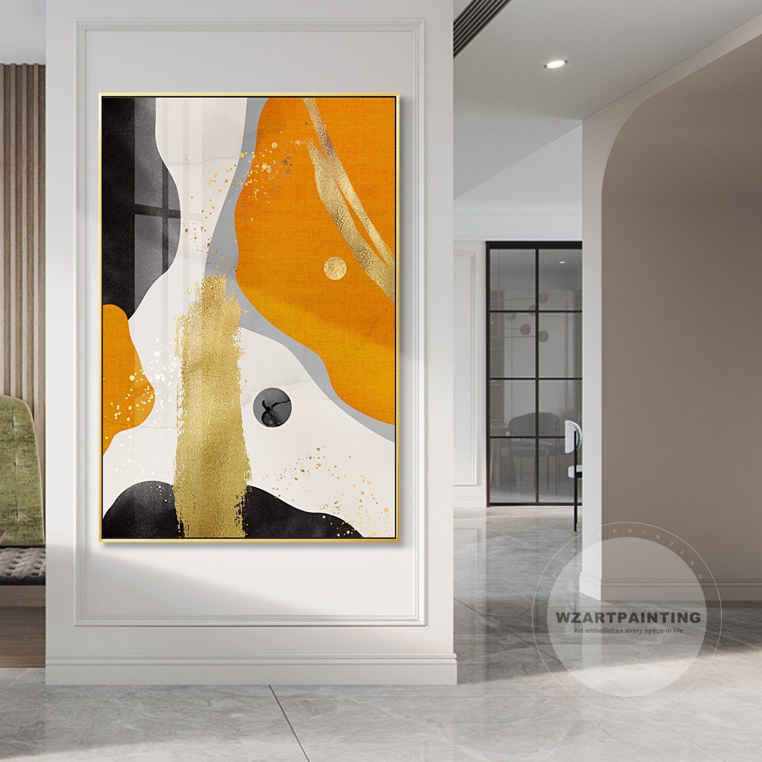 Abstract Gold Orange Print Painting Luxury Wall Art Pictures On Canvas Ready To Hang Print Art For Living Room Home D Gold Art Print Wall Art Pictures Abstract
