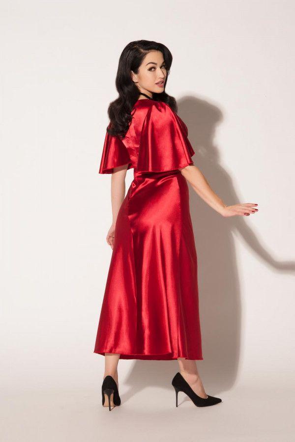 Graciela Gown in Deep Red by Queen of Heartz | Satin | Pinterest ...