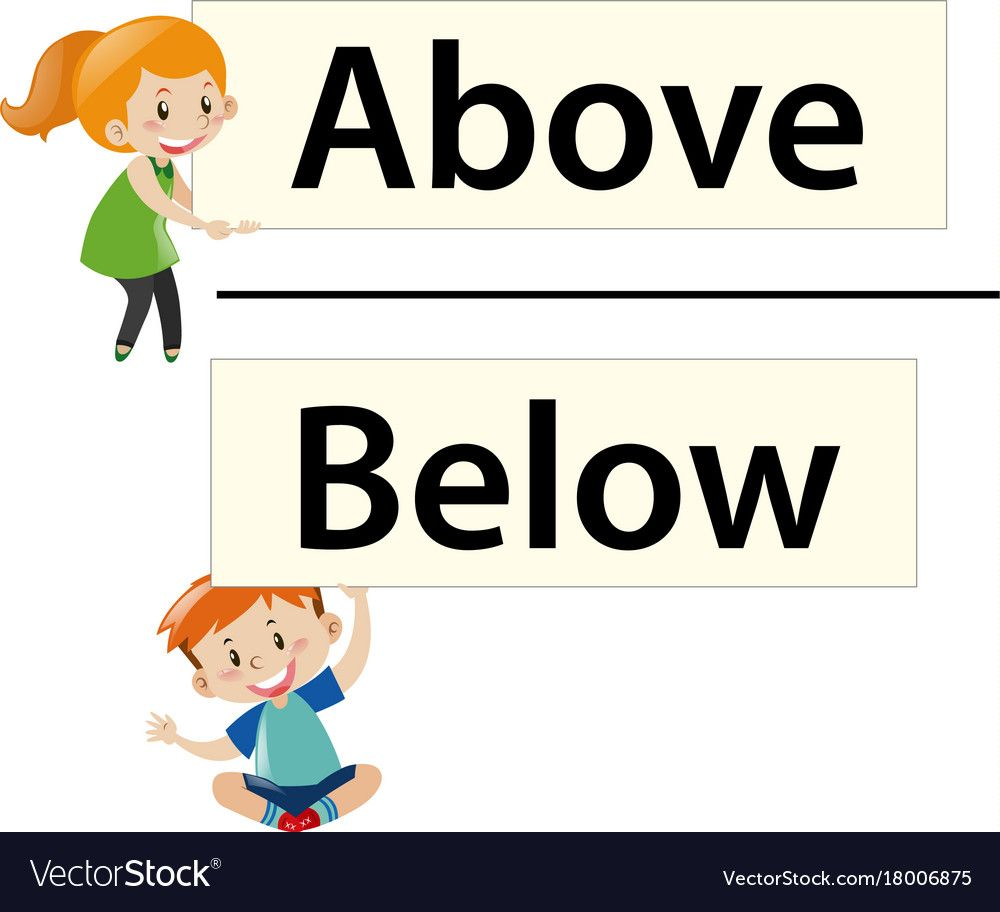 Kids Holding Wordcards Above And Below Illustration Download A Free Preview Or High Quali Preschool Learning Activities Preschool Learning Preschool Classroom [ 912 x 1000 Pixel ]