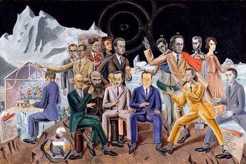 """1922 """"Au rendez-vous des amis"""" : René Crevel, Max Ernst auf den Knien des bärtigen Dostojewski sitzend, Theodor Fraenkel fast verdeckt von Jean Paulhan, Benjamin Péret mit Monokel, Johannes Baargeld und Robert Desnos kommen von rechts. Obere Reihe von links nach rechts : Philippe Soupault, Hans Arp, Max Morise, Raffael Santi -1483-1520 !-, Paul Eluard, Louis Aragon mit Lorbeerkranz um den Bauch, André Breton auf konzentrische Kreise zeigend, Giorgio de Chirico und Gala Eluard"""