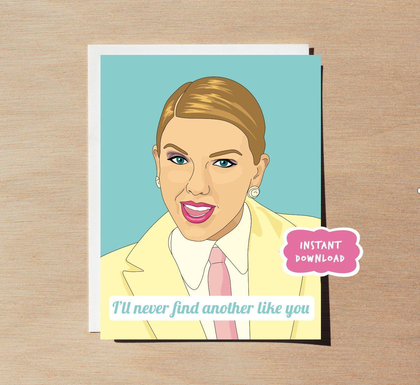 Taylor Swift Me Card Printable Etsy Greeting Card Video Printable Greeting Cards Etsy Printables