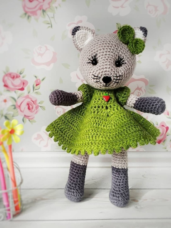 Cat Doll in Dress Free Crochet Patterns | 1440x1080