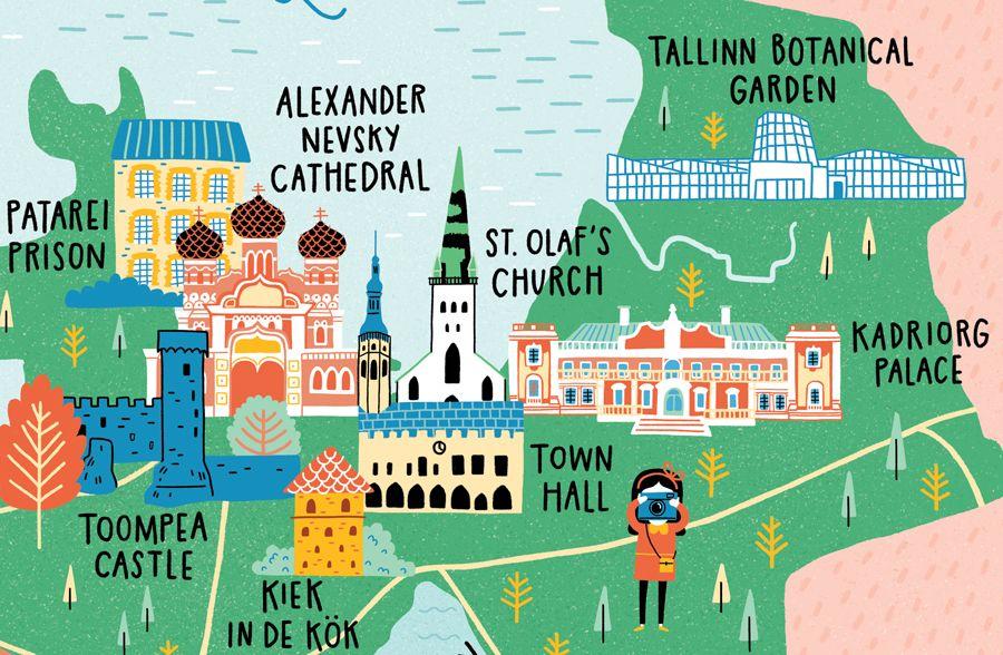 Map Of Tallinn Ciudad Dibujo Dibujos
