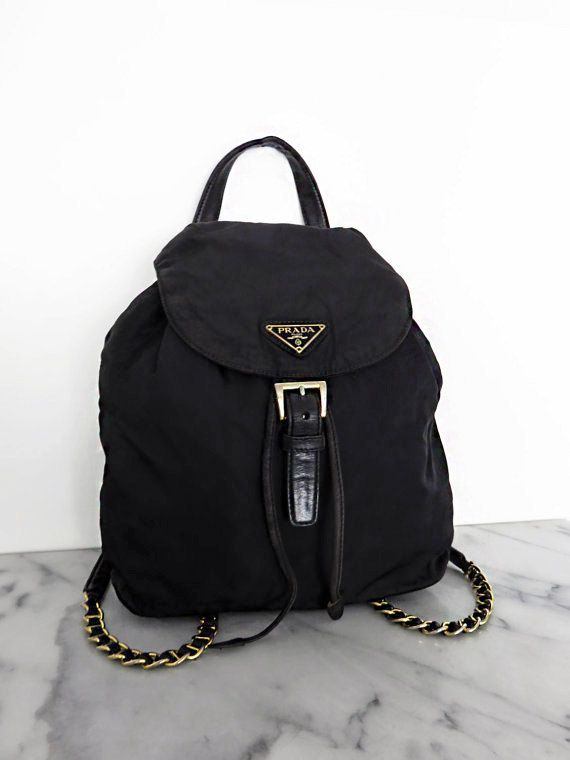 PRADA Backpack Gold Chain Mini Black Nylon Leather Details Vintage 1980s 2c0705ffebe5b