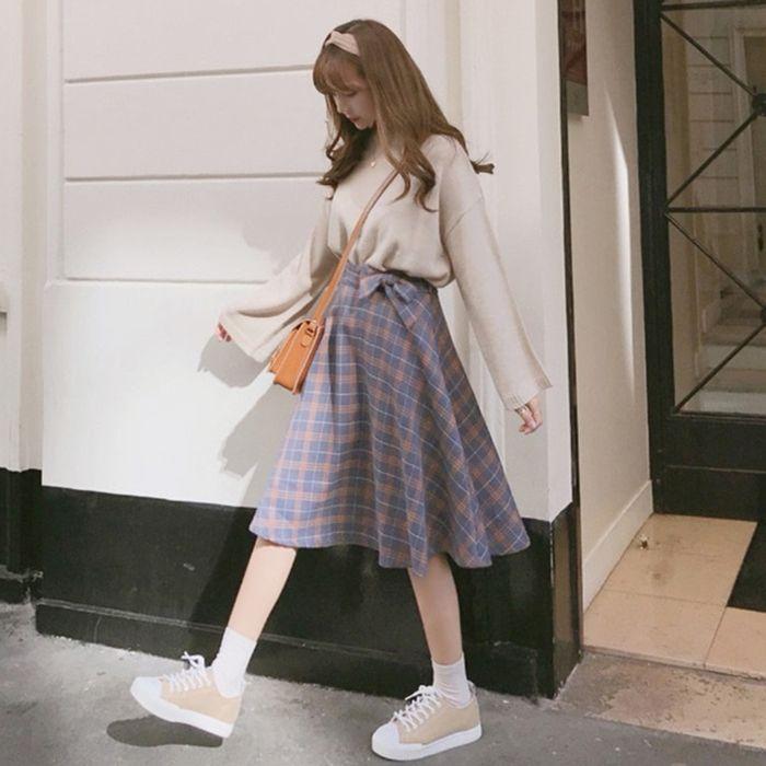 Korean Spring Autumn Girl Retro Bow High Waist Blue Orange Plaid Long Skirt