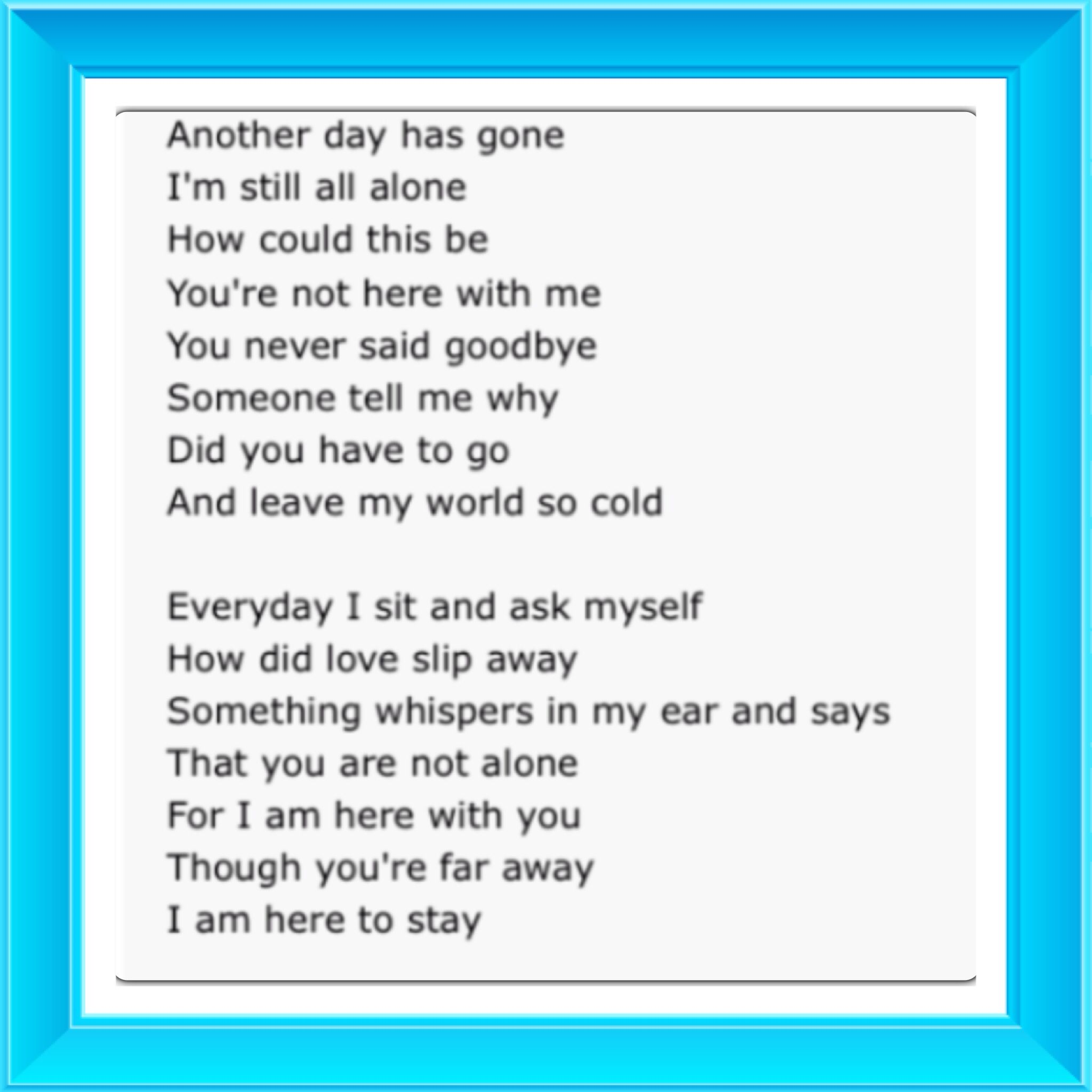 Part of Michael Jackson's song,you are not alone  | lyrics