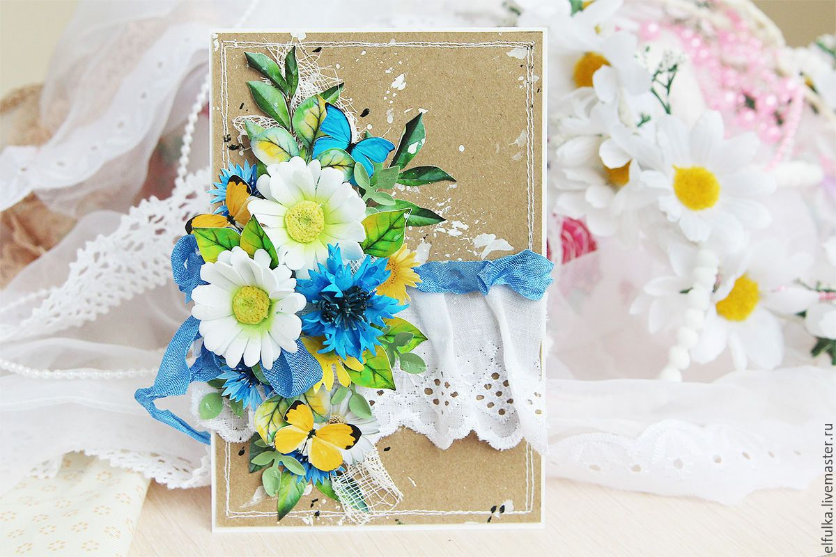 Дорогому, цветы для открыток ручная работа