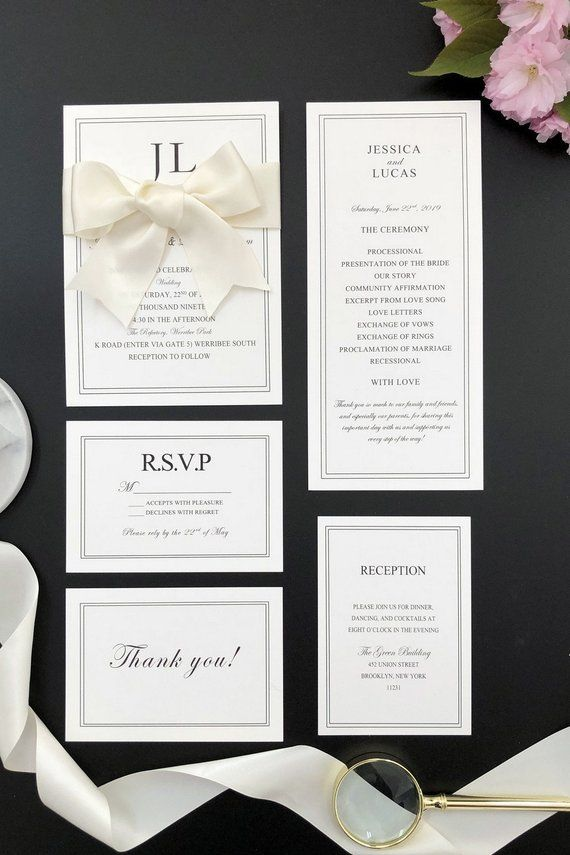 Elegant White and Black Wedding Invitations with Ivory Ribbon