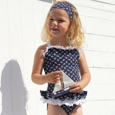 Exclusive Navy Anchor Print Frilly Swimsuit With Matching Hairband