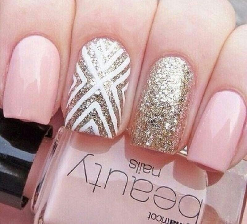 pretty pink and gold nail art design - Bright Pink And White Design Pink Nail Design Nails, Nails, Nails
