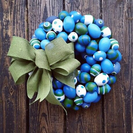 Custom, hand painted Easter Egg Wreath from DyJo Designs