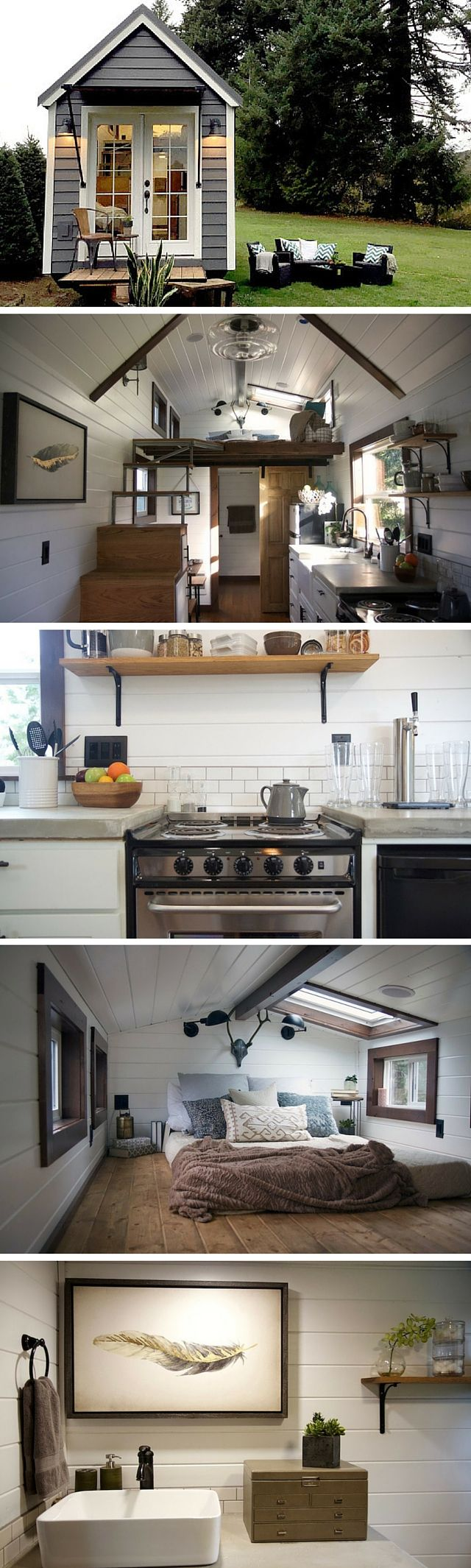 View toward kitchen the alpha tiny home by new frontier tiny homes - The Nw Haven Tiny House By Tiny Heirloom