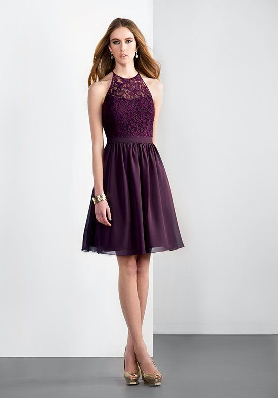A-line dress with Georgette skirt, natural waistline, lace overlay ...