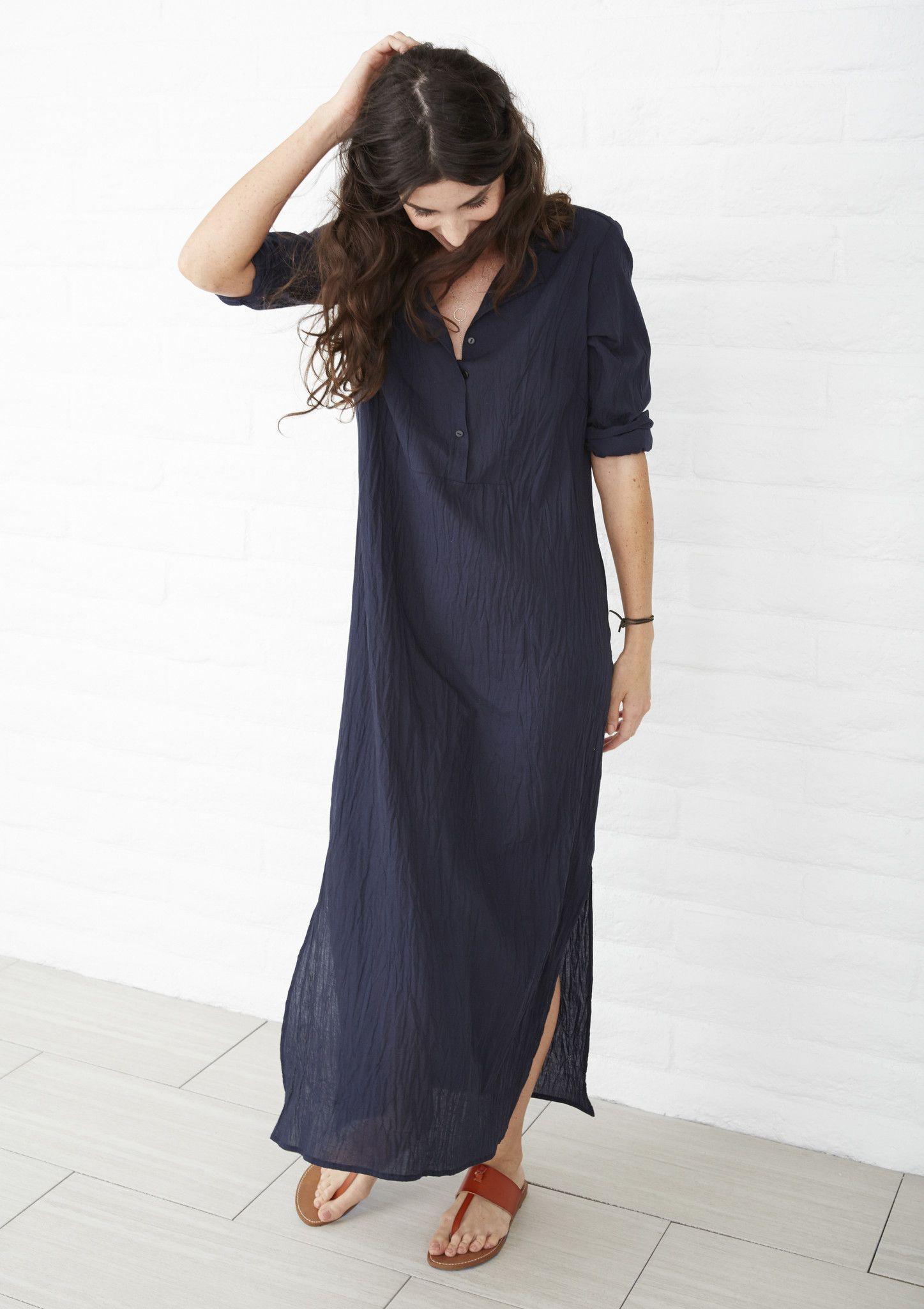 Navy Long Bib Tunic Maxi Dress Fashion Caftan Dress [ 2048 x 1447 Pixel ]