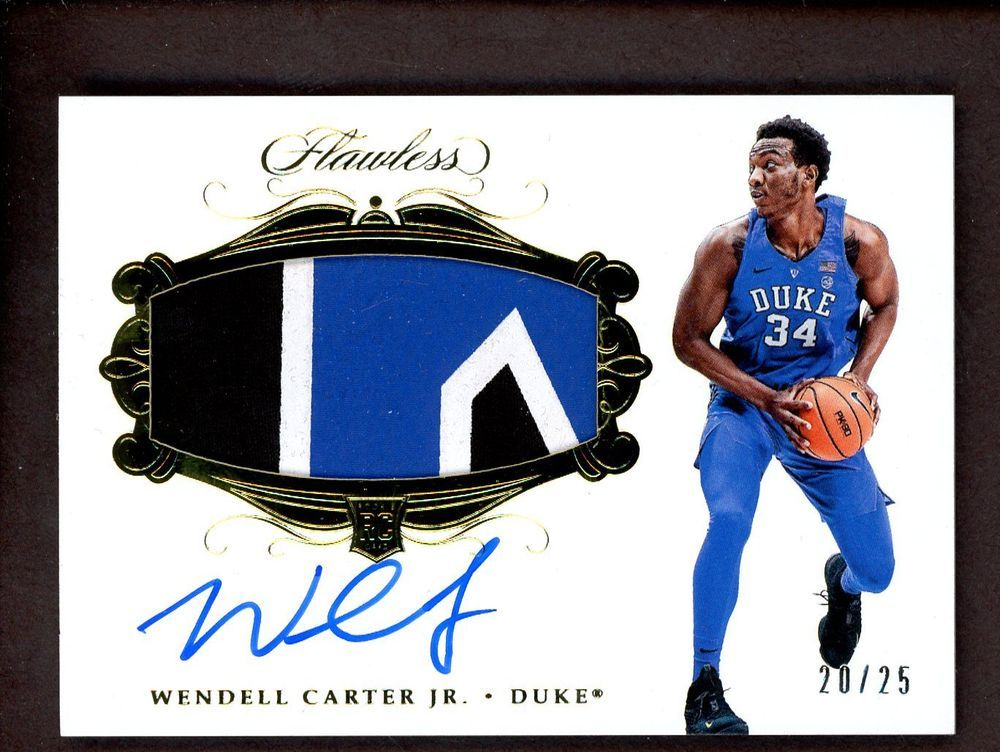 2018 Flawless Collegiate Wendell Carter Jr. Duke RPA RC 3-Color Patch AU 4860bf51d