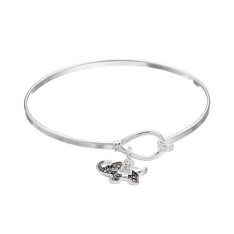 Silver Luxuries Marcasite & Crystal Elephant Charm Bangle Bracelet, Women's, White