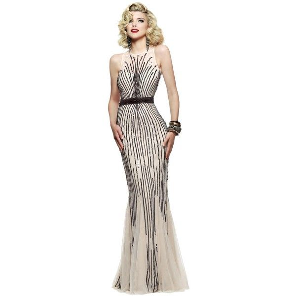 Faviana S7596 Evening Dress Long High Neckline Sleeveless (€420) ❤ liked on Polyvore featuring dresses, formal dresses, gowns, vestidos, prom dresses, long pink dress, sequin cocktail dresses, high neck prom dresses and long prom dresses