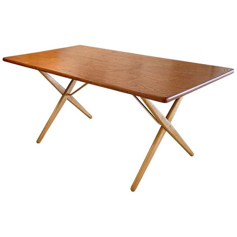 Hans Wegner At 303 Cross Leg Dining Table With Teak Top Vintage Dining Room Table Dining Table Legs Oak Dining Room Table