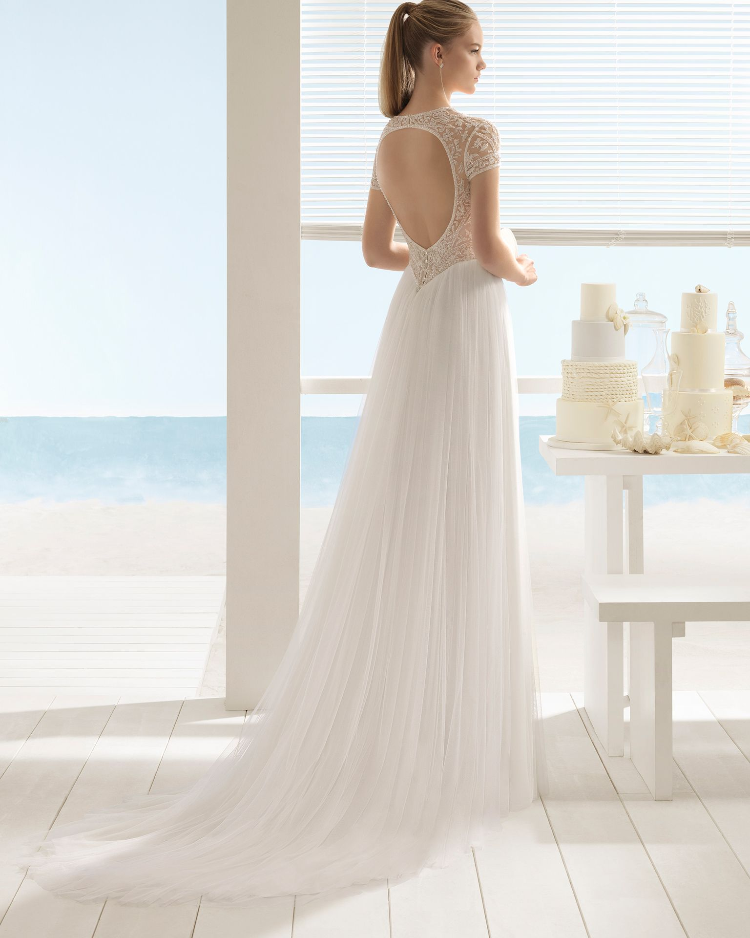Aline beaded lace and tulle wedding dress with short sleeves and