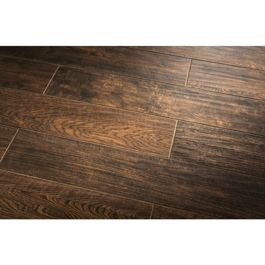 Shop style selections natural timber chestnut glazed porcelain indoor outdoor floor tile common - Lowes floor tiles porcelain ...